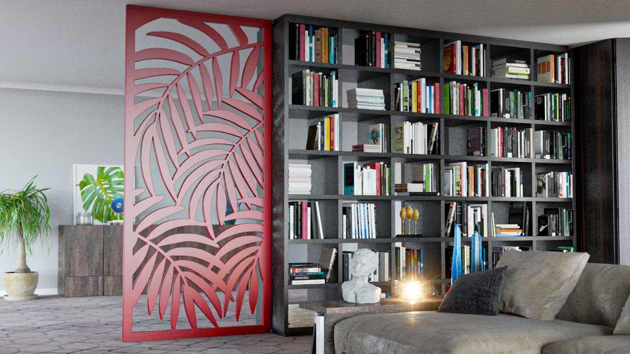 Biombos decorativos em PET Tramezzo modelo Palme Cor Vermelho Painel decorativo em MDF revestido com resina pet Código BIO04