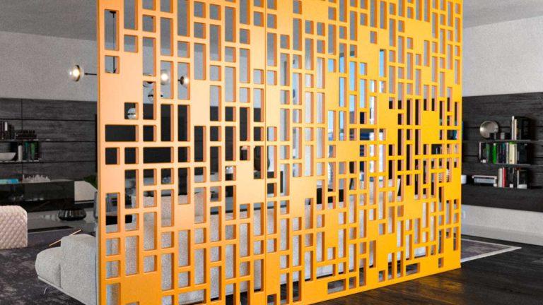 Biombos decorativos em PET Tramezzo modelo View Cor Amarelo Painel decorativo em MDF revestido com resina pet Código BIO03BIO03 Retangle 720p amarelo