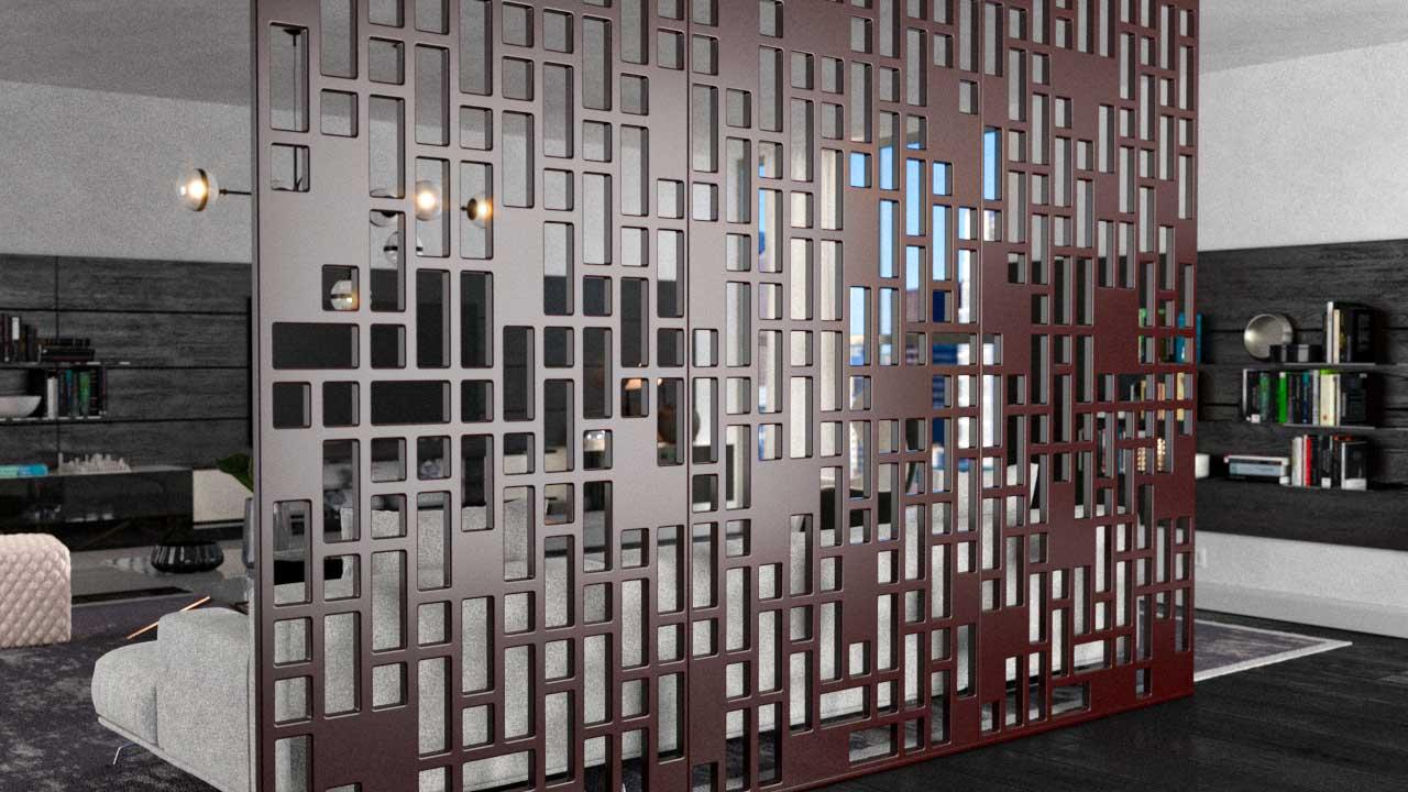 Biombos decorativos em PET Tramezzo modelo View Cor Marrom Painel decorativo em MDF revestido com resina pet Código BIO03