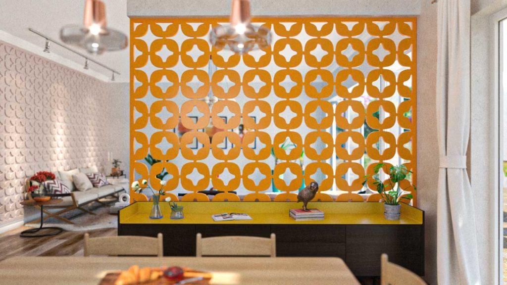 Biombos decorativos em PET Tramezzo modelo Star na Cor Amarelo. Painel decorativo em MDF revestido com resina pet. Código do produto BIO01