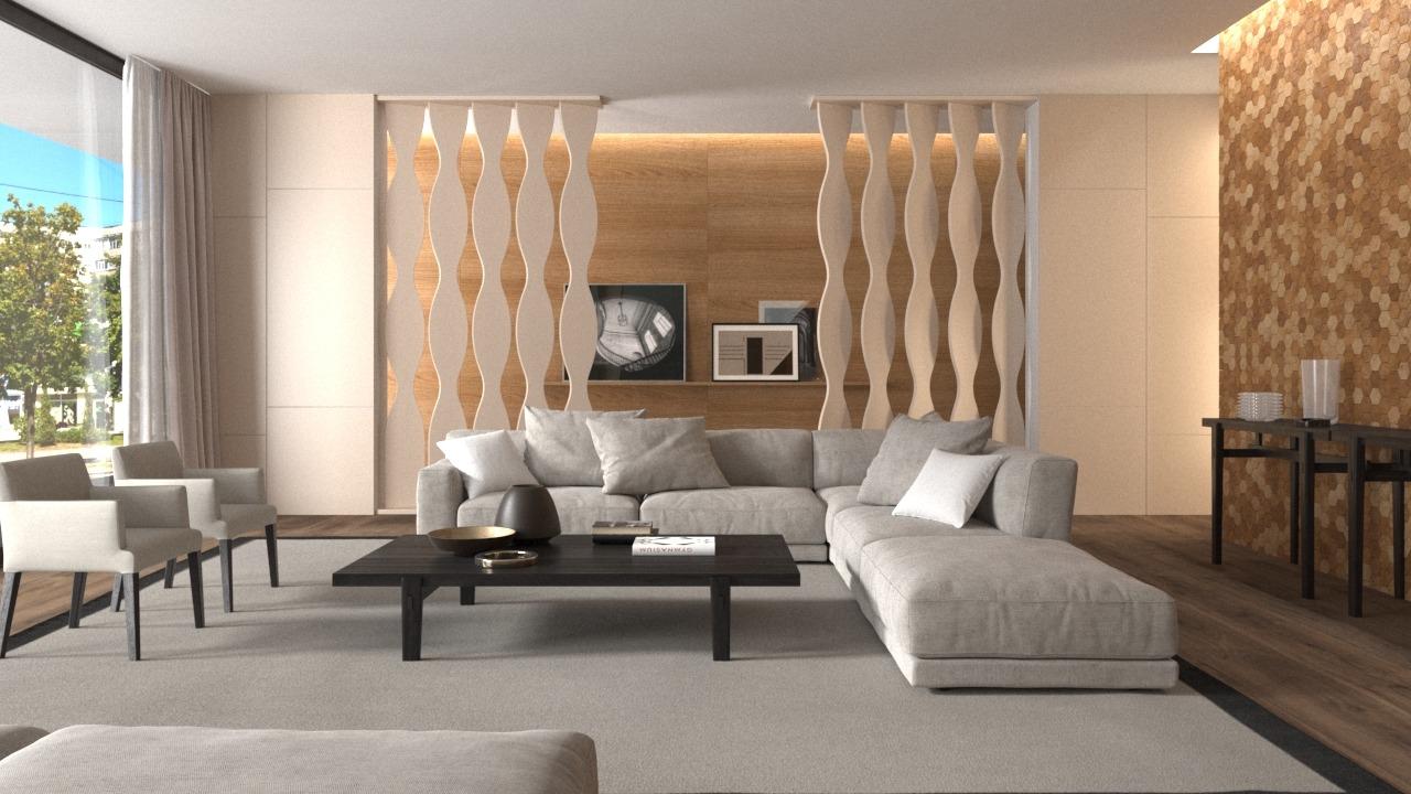 Brises decorativos em PET Tramezzo modelo Amphora Cor Areia Brises em MDF revestidos com resina pet Código BRS02