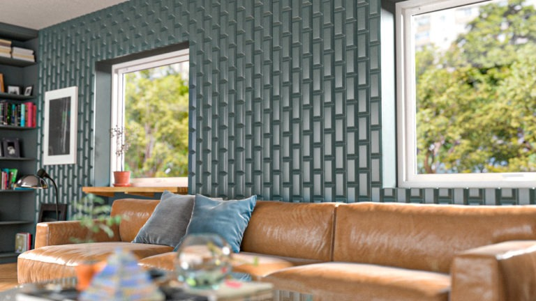 Lambris decorativos em PET Tramezzo modelo Brick Cor Verde Painel decorativo em MDF revestido com resina pet Código LBI02