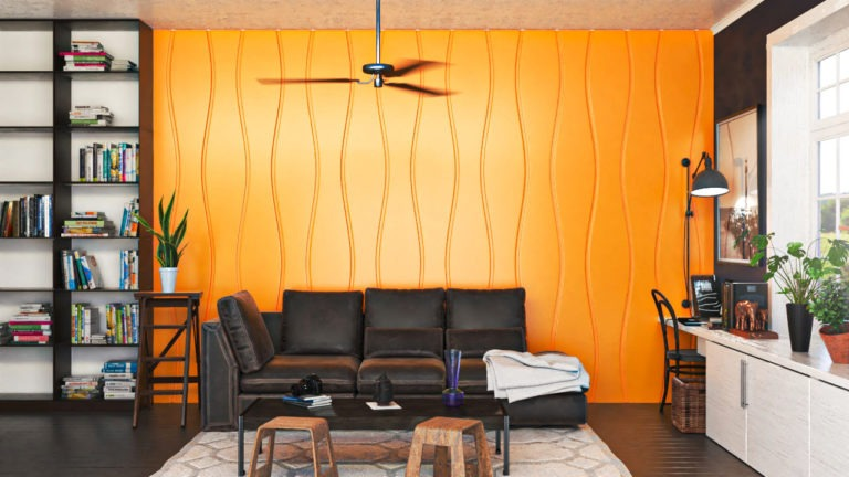 Lambris decorativos em PET Tramezzo modelo Sense Cor Amarelo Painel decorativo em MDF revestido com resina pet Código LBI03