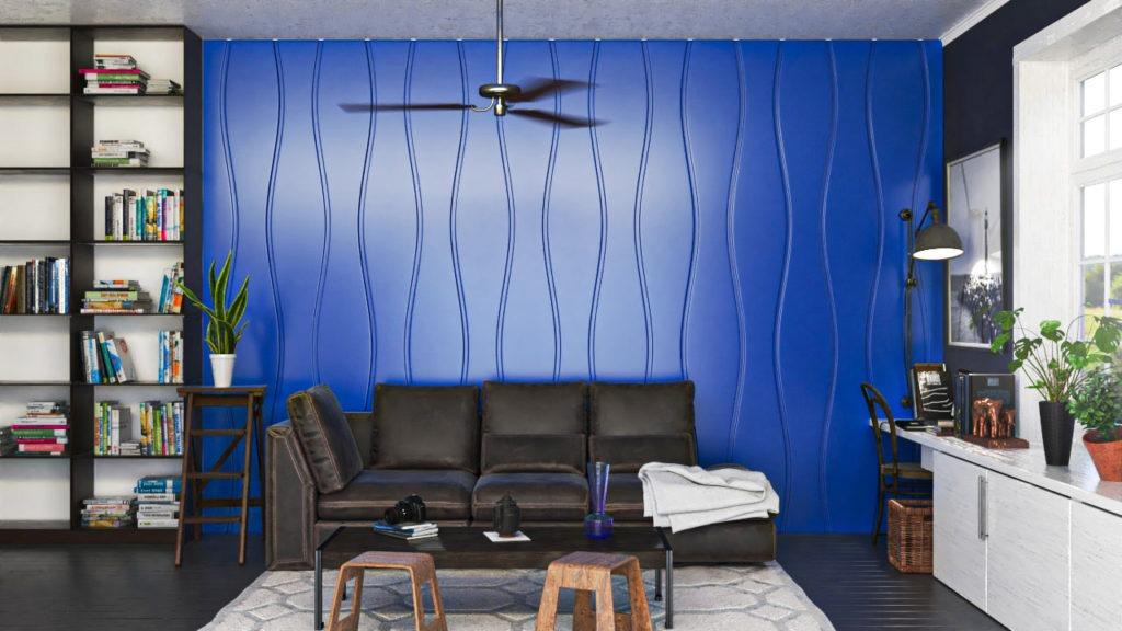 Lambris decorativos em PET Tramezzo modelo Sense Cor Azul Painel decorativo em MDF revestido com resina pet Código LBI03