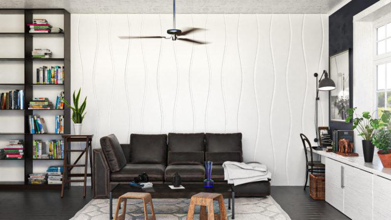 Lambris decorativos em PET Tramezzo modelo Sense Cor Branco Painel decorativo em MDF revestido com resina pet Código LBI03