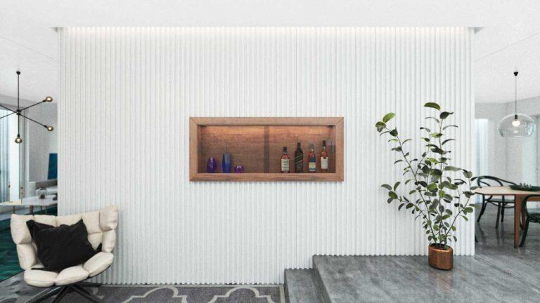 Lambris decorativos em PET Tramezzo modelo Stripped Cor Branco Painel decorativo em MDF revestido com resina pet Código LBI01