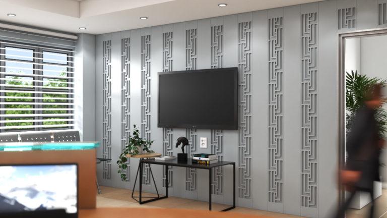 Lambris decorativos em PET Tramezzo modelo Tressed Cor cinza Painel decorativo em MDF revestido com resina pet Código LBI04