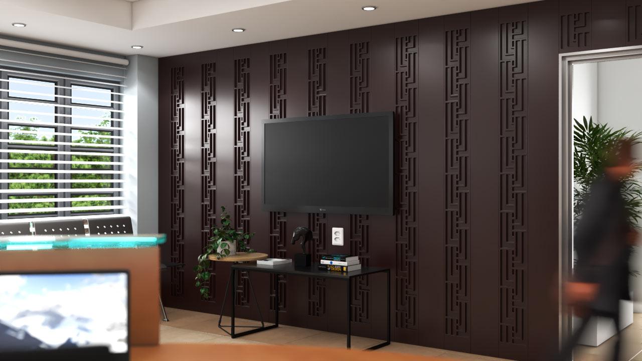 Lambris decorativos em PET Tramezzo modelo Tressed Cor Marrom Painel decorativo em MDF revestido com resina pet Código LBI04