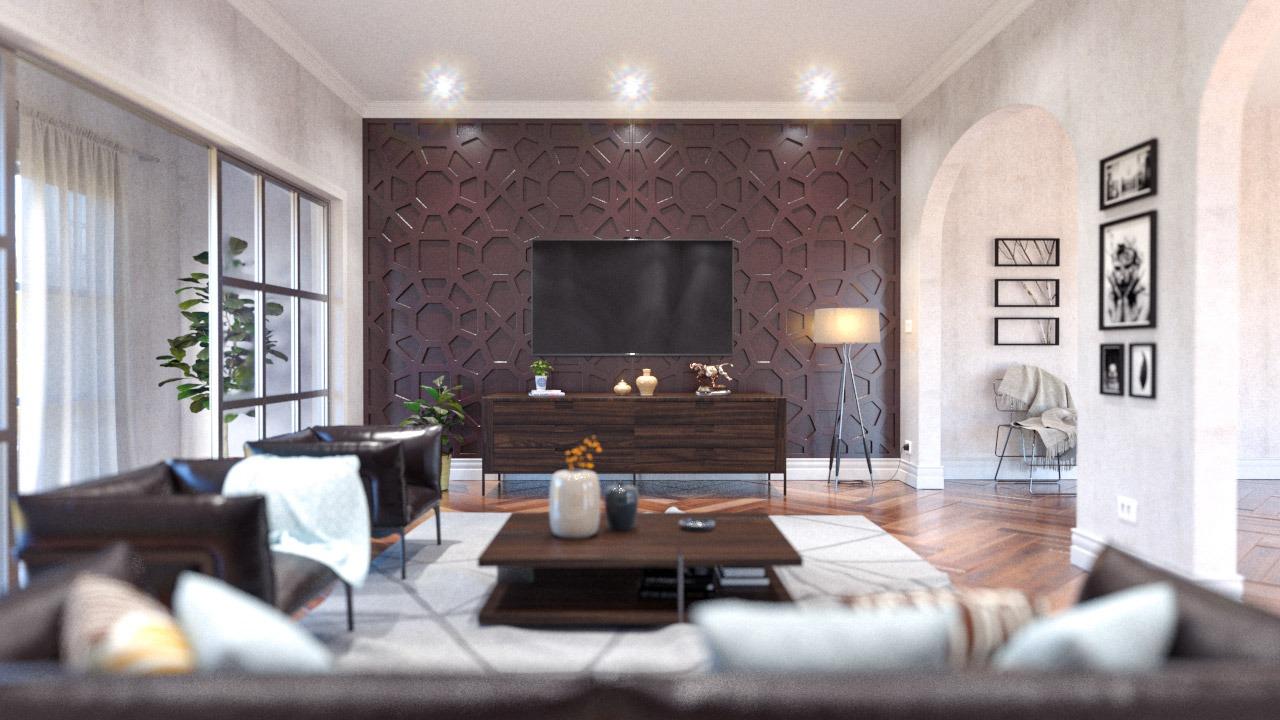 Painéis decorativos PET Tramezzo. Modelo Notor - Código PAN01 - Cor Marrom - painel decorativo em mdf revestido com resina pet