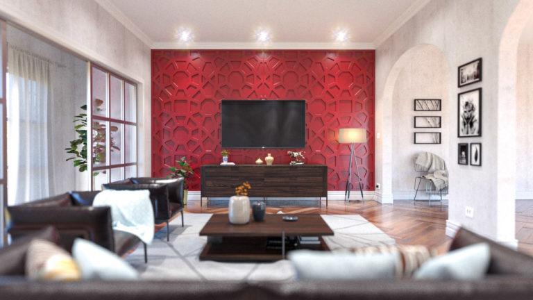 Painéis decorativos PET Tramezzo. Modelo Notor - Código PAN01 - Cor Vermelho - painel decorativo em mdf revestido com resina pet