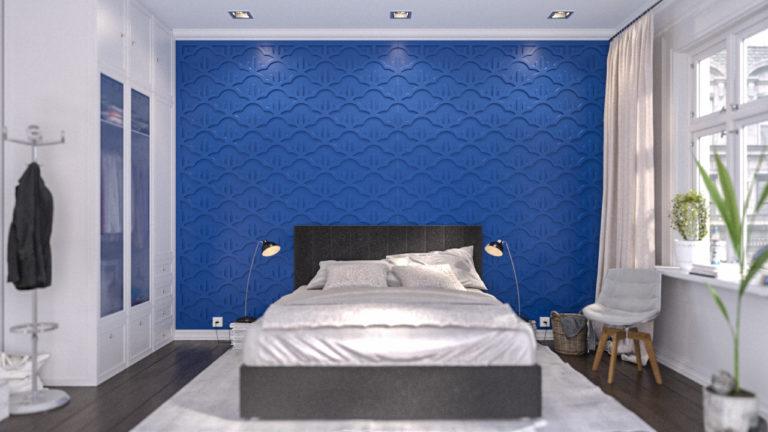 Painéis decorativos PET Tramezzo modelo Nuage Cor Azul Painel decorativo em MDF revestido com resina pet Código PAN03