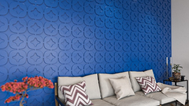 Painel decorativo PET Tramezzo modelo Star Cor Azul painel decorativo em MDF revestido com resina pet Código PAN02