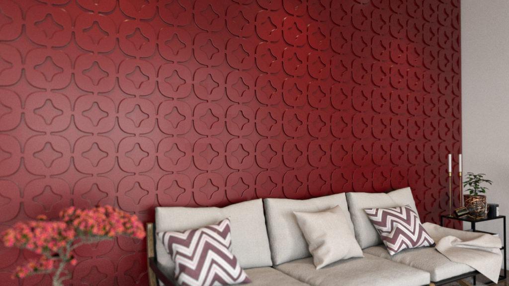 Painel decorativo PET Tramezzo modelo Star Cor Vermelho painel decorativo em mdf revestido com resina pet Código PAN02
