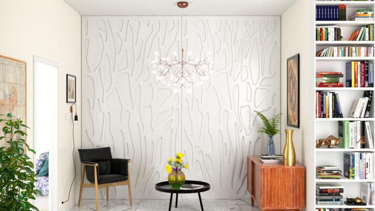 Painel decorativo PET Tramezzo modelo Tronk Cor Branco Painel decorativo em MDF revestido com resina pet Código PAN04